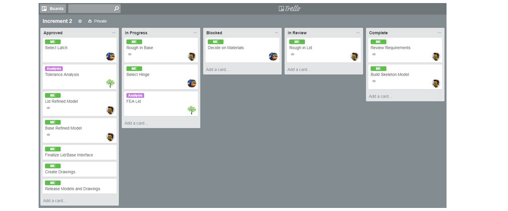 Example of a task board for a mechanical design project on Trello (free tool)