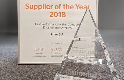 "ALTEN Group again honoured by CONTINENTAL as ""Supplier of the Year"""