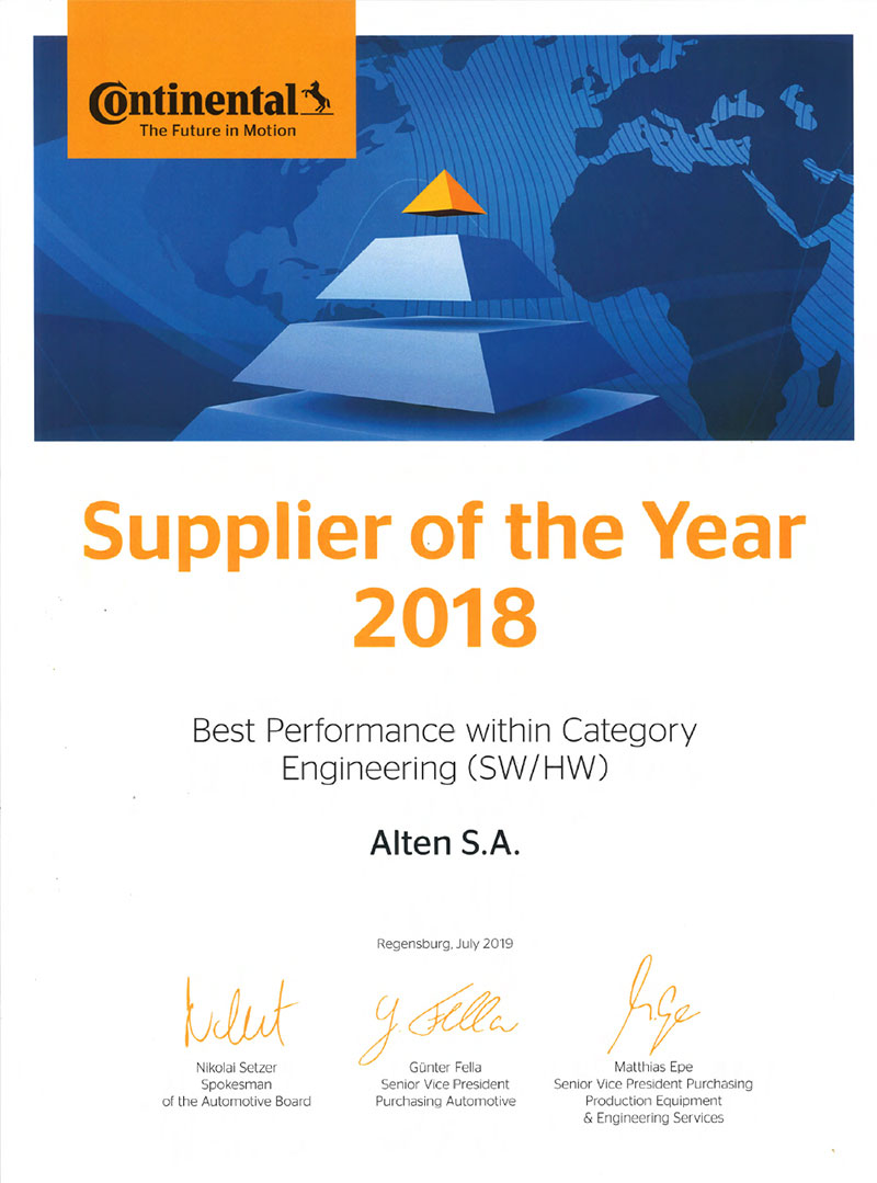 ALTEN Group again honoured by CONTINENTAL as