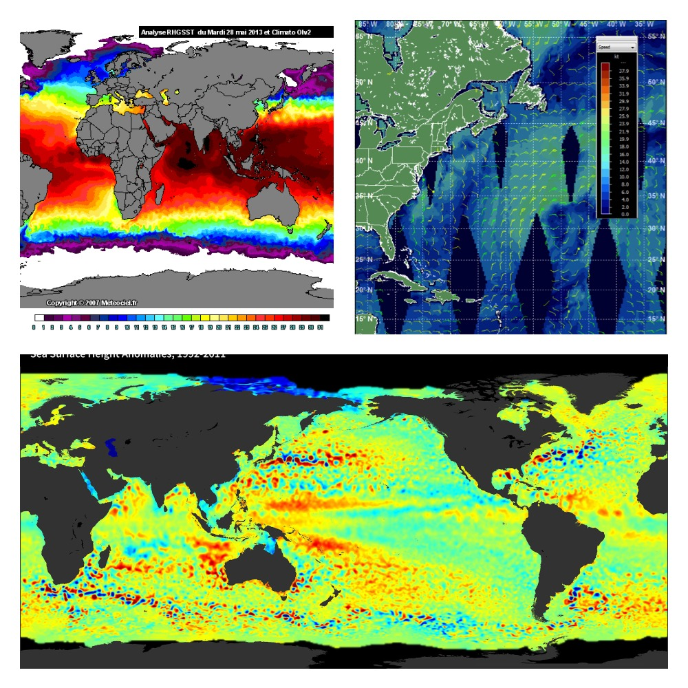 Résultats d'observations des océans par satellite